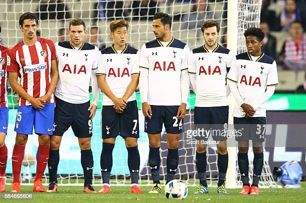 Vincent Janssen Son Heungmin Nacer Chadli Ryan Mason and Kyle WalkerPeters of Tottenham Hotspur form a wall during 2016 International Champions Cup...
