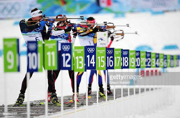 Vincent Jay of France competes in the men's biathlon 10 km sprint final during the Biathlon Men's 10 km Sprint on day 3 of the 2010 Winter Olympics...