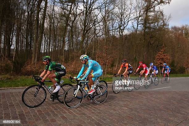 Vincent Jerome of France and Team Europcar and Laurens De Vreese of Belgium and Astana Pro Team lead in the breakaway group during the 103rd edition...
