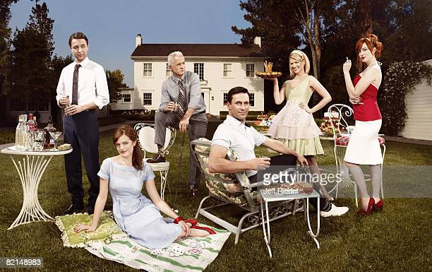 Vincent Kartheiser John Slattery January Jones Christina Hendricks Elisabeth Moss and Jon Hamm from Mad Men pose at a portrait session in Los Angeles...