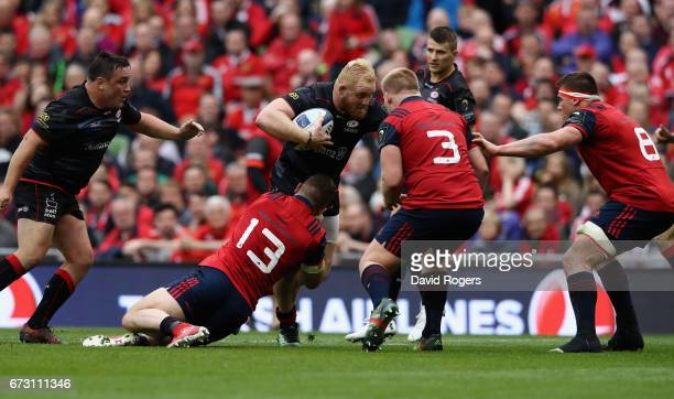 Vincent Koch of Saracens charges upfield during the European Rugby Champions Cup semi final match between Munster and Saracens at the Aviva Stadium...