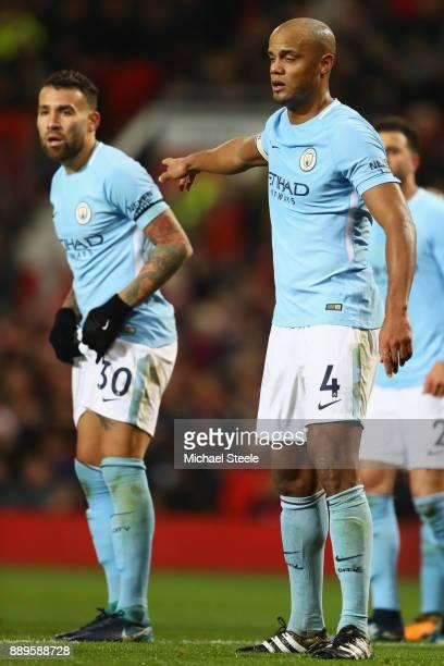 Vincent Kompany and Nicolas Otamendi of Manchester City during the Premier League match between Manchester United and Manchester City at Old Trafford...