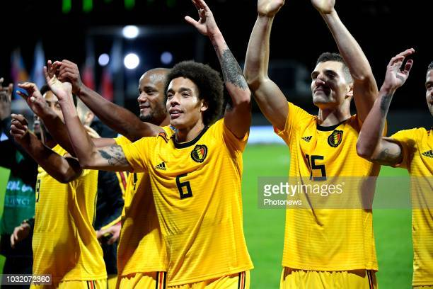 Vincent Kompany defender of Belgium Axel Witsel midfielder of Belgium Thomas Meunier defender of Belgium pictured during the UEFA Nations League...