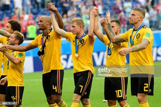 Vincent Kompany defender of Belgium Kevin De Bruyne forward of Belgium Eden Hazard midfielder of Belgium and Toby Alderweireld defender of Belgium...
