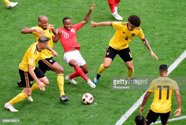 Vincent Kompany defender of Belgium Raheem Sterling forward of England Axel Witsel midfielder of Belgium during the FIFA 2018 World Cup Russia...