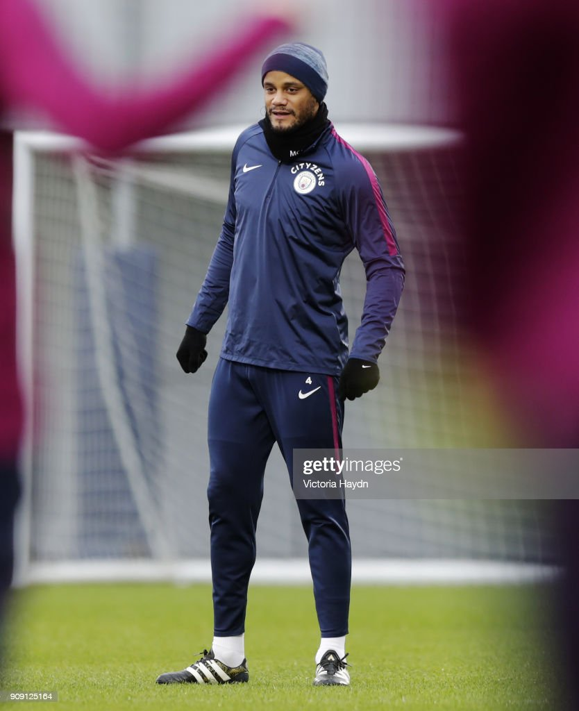 Vincent Kompany during training at Manchester City Football Academy on January 22, 2018 in Manchester, England.