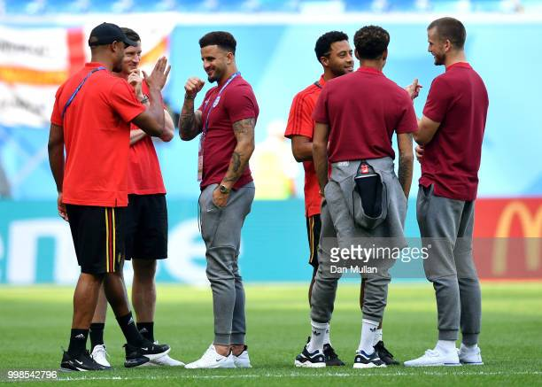 Vincent Kompany Jan Vertonghen and Kyle Walker of England speak during a pitch inspection prior to the 2018 FIFA World Cup Russia 3rd Place Playoff...