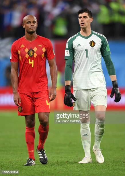 Vincent Kompany of Belgium and Thibaut Courtois of Belgium look dejected following their sides defeat in the 2018 FIFA World Cup Russia Semi Final...