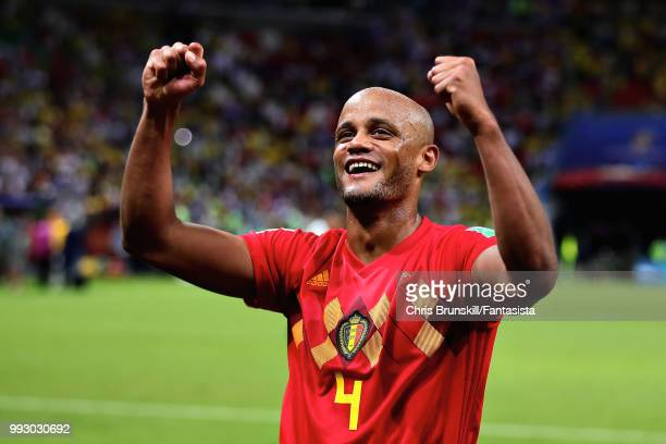 Vincent Kompany of Belgium celebrates after the 2018 FIFA World Cup Russia Quarter Final match between Brazil and Belgium at Kazan Arena on July 6,...