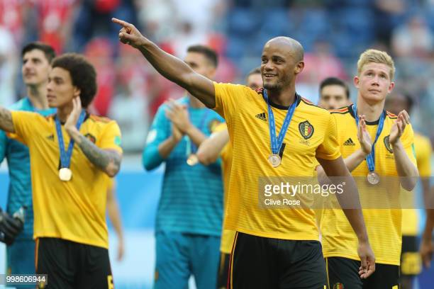 Vincent Kompany of Belgium celebrates following his sides victory in the 2018 FIFA World Cup Russia 3rd Place Playoff match between Belgium and...