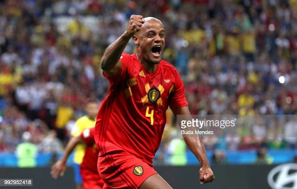 Vincent Kompany of Belgium celebrates his sides first goal an own goal scored by Fernandinho of Brazil during the 2018 FIFA World Cup Russia Quarter...