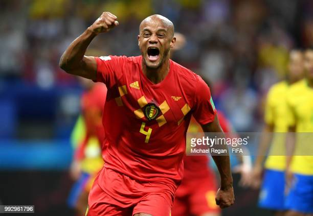 Vincent Kompany of Belgium celebrates his sides first goal, an own goal scored by Fernandinho of Brazil during the 2018 FIFA World Cup Russia Quarter...