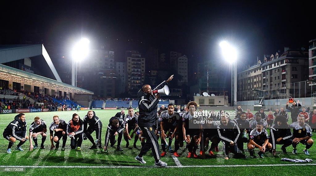 Vincent Kompany of Belgium celebrates with this teammates after defeating andorra at the end of the UEFA EURO 2016 Qualifier match between Andorra and Belgium at Estadi Nacional d'Andorra la Vella on October 10, 2015 in Andorra la Vella, Andorra.