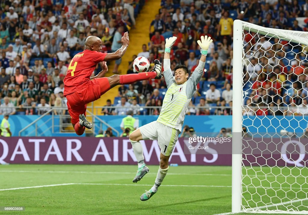 Vincent Kompany of Belgium kicks the ball inside the penalty area during the 2018 FIFA World Cup Russia Round of 16 match between Belgium and Japan at Rostov Arena on July 2, 2018 in Rostov-on-Don, Russia.