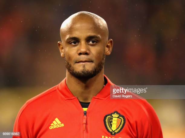 Vincent Kompany of Belgium looks on during the international friendly match between Belgium and Saudi Arabia at the King Baudouin Stadium on March 27...