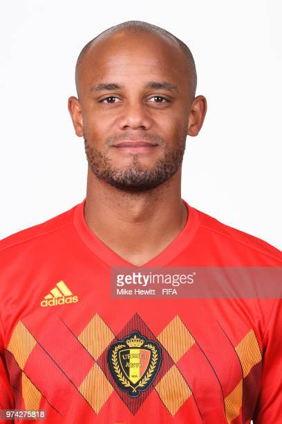 Vincent Kompany of Belgium poses for a portrait during the official FIFA World Cup 2018 portrait session at the Moscow Country Club on June 14 2018...