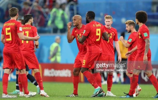 Vincent Kompany of Belgium Romelu Lukaku of Belgium Kevin De Bruyne of Belgium during the 2018 FIFA World Cup Russia Semi Final match between Belgium...