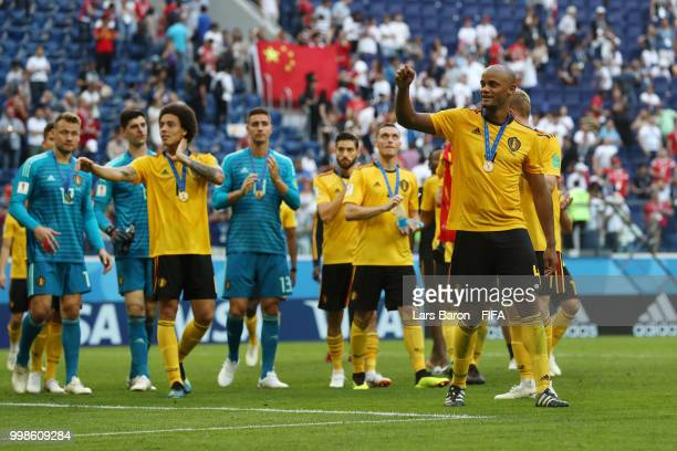 Vincent Kompany of Belgium shows appreciation to the fans after the 2018 FIFA World Cup Russia 3rd Place Playoff match between Belgium and England at...