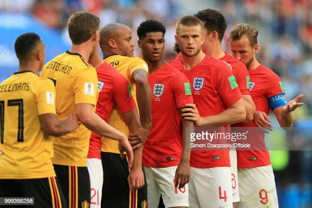 Vincent Kompany of Belgium struggles to mark Marcus Rashford of England and Eric Dier of England during the 2018 FIFA World Cup Russia 3rd Place...