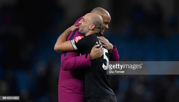 Vincent Kompany of City hugs Pablo Zabaleta of West Ham after the Premier League match between Manchester City and West Ham United at Etihad Stadium...