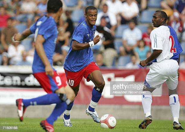 Vincent Kompany of Hamburg and Didier Agathe of Blackburn during the friendly match between Hamburger SV and Blackburn Rovers on July 23 2006 in...
