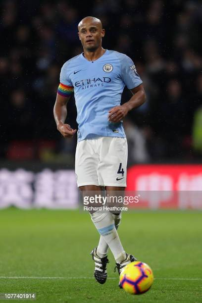Vincent Kompany of Man City in action during the Premier League match between Watford FC and Manchester City at Vicarage Road on December 04 2018 in...