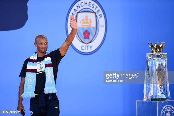 Vincent Kompany of Manchester City acknowledges fans during the Manchester City Teams Celebration Parade on May 20, 2019 in Manchester, England.