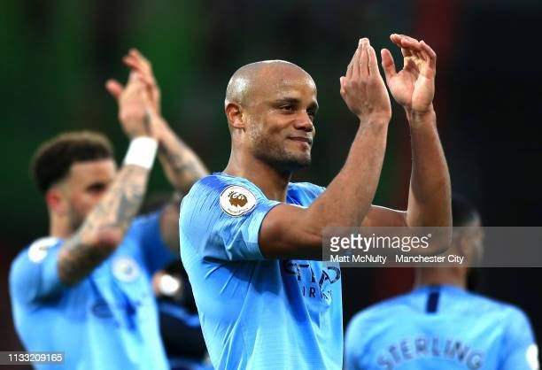 Vincent Kompany of Manchester City acknowledges the fans following the Premier League match between AFC Bournemouth and Manchester City at Vitality...