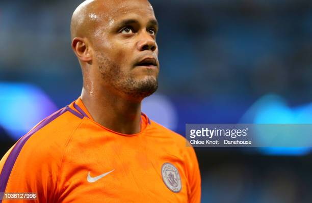 Vincent Kompany of Manchester City ahead of the Champions League match between Manchester City and Olympique Lyonnais at The Etihad Stadium on...