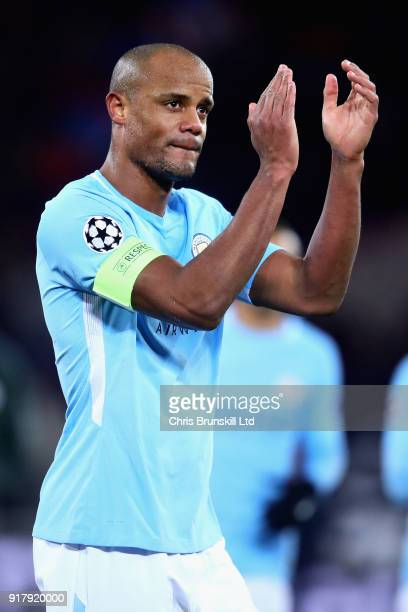 Vincent Kompany of Manchester City applauds the crowd after the UEFA Champions League Round of 16 First Leg match between FC Basel and Manchester...