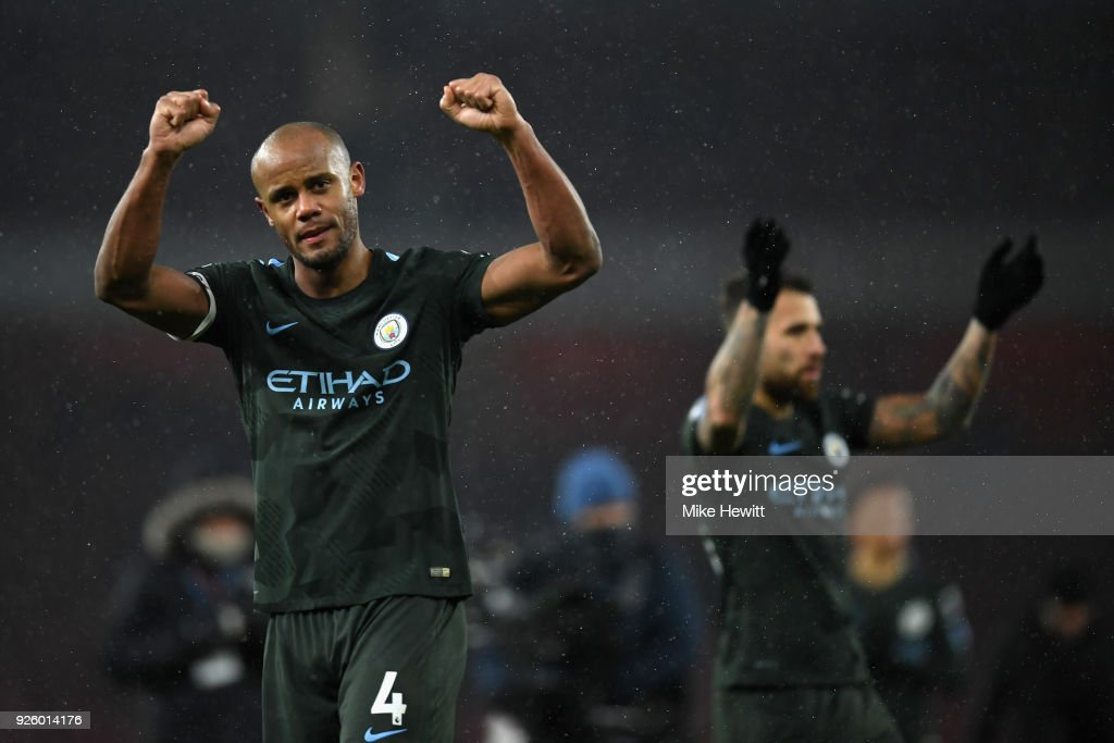 Vincent Kompany of Manchester City applauds the fans after the Premier League match between Arsenal and Manchester City at Emirates Stadium on March 1, 2018 in London, England.