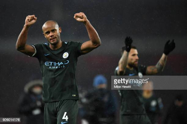 Vincent Kompany of Manchester City applauds the fans after the Premier League match between Arsenal and Manchester City at Emirates Stadium on March...