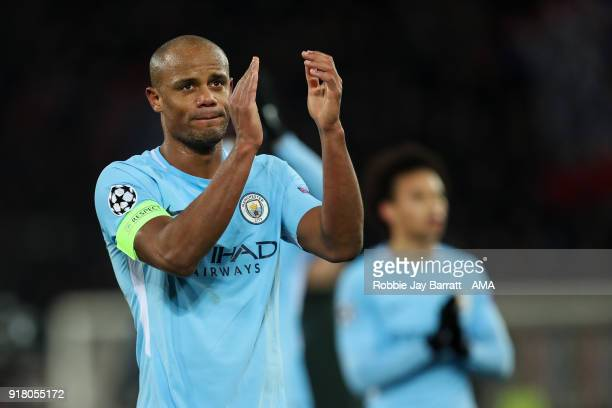 Vincent Kompany of Manchester City applauds the fans during the UEFA Champions League Round of 16 First Leg match between FC Basel and Manchester...