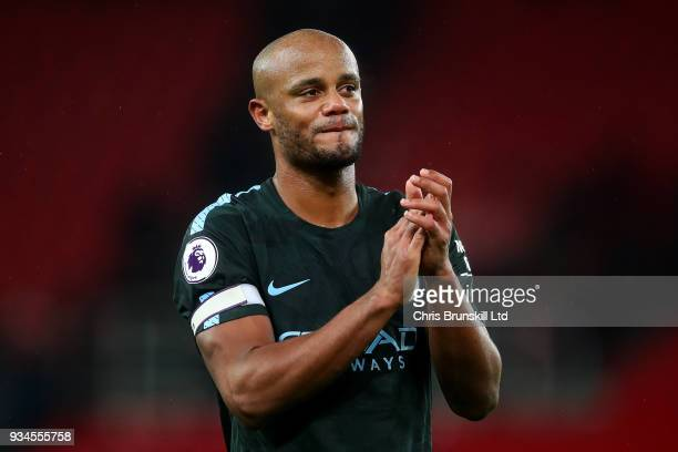 Vincent Kompany of Manchester City applauds the supporters following the Premier League match between Stoke City and Manchester City at Bet365...