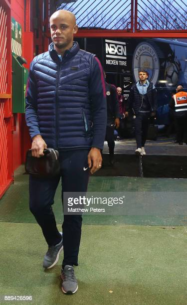 Vincent Kompany of Manchester City arrives ahead of the Premier League match between Manchester United and Manchester City at Old Trafford on...