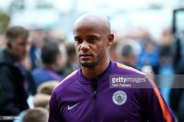 Vincent Kompany of Manchester City arrives at the stadium prior to the Group F match of the UEFA Champions League between Manchester City and...