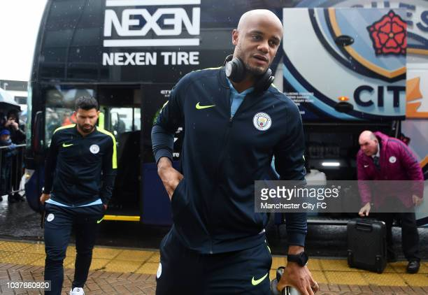 Vincent Kompany of Manchester City arrives at the stadium prior to the Premier League match between Cardiff City and Manchester City at Cardiff City...