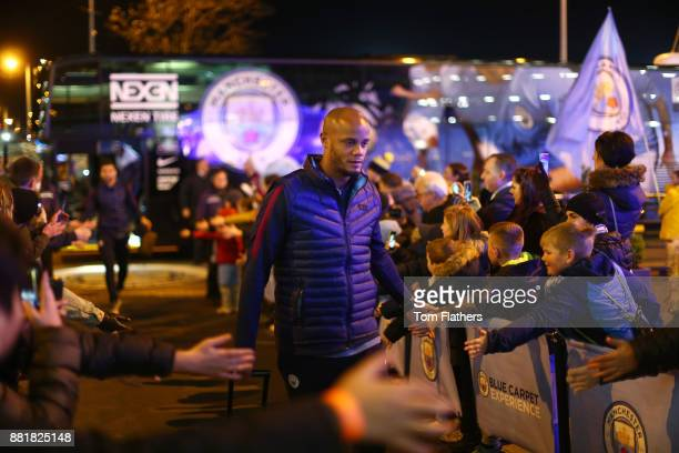 Vincent Kompany of Manchester City arrives at the stadium prior to the Premier League match between Manchester City and Southampton at Etihad Stadium...