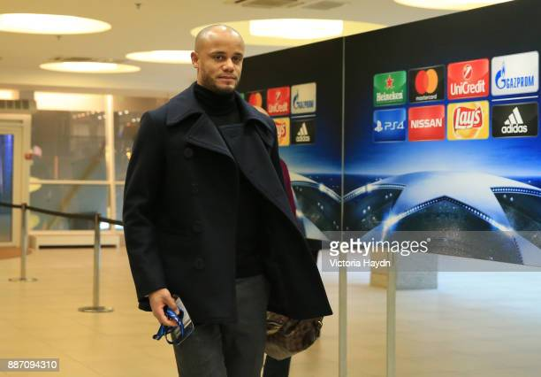 Vincent Kompany of Manchester City arrives at the stadium prior to the UEFA Champions League group F match between Shakhtar Donetsk and Manchester...