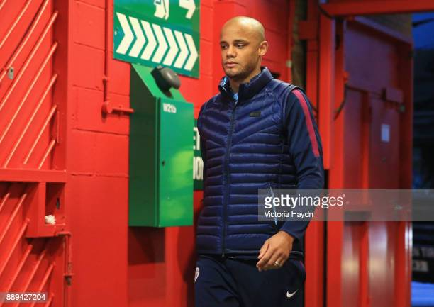 Vincent Kompany of Manchester City arrives for the Premier League match between Manchester United and Manchester City at Old Trafford on December 10...
