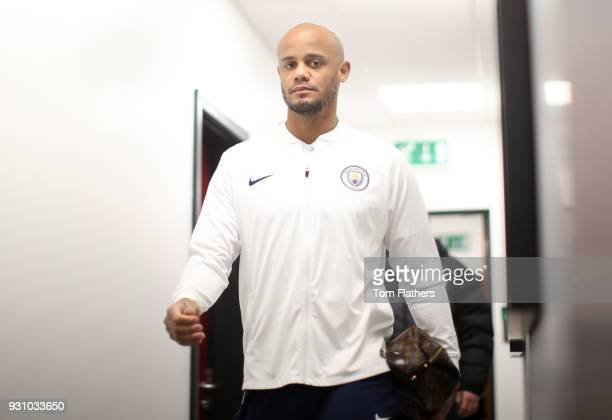Vincent Kompany of Manchester City arrives prior to the Premier League match between Stoke City and Manchester City at Bet365 Stadium on March 12...