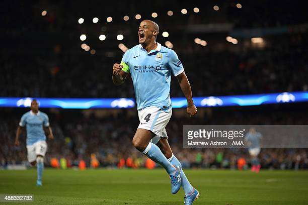 Vincent Kompany of Manchester City celebrates after Giorgio Chiellini of Juventus scored an own goal to make it 1-0 during the UEFA Champions League...