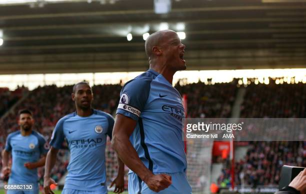 Vincent Kompany of Manchester City celebrates after he scores a goal to make it 01 during the Premier League match between Southampton and Manchester...