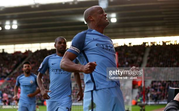 Vincent Kompany of Manchester City celebrates after he scores a goal to make it 0-1 during the Premier League match between Southampton and...