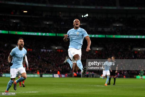 Vincent Kompany of Manchester City celebrates after scoring his sides second goal during the Carabao Cup Final between Arsenal and Manchester City at...