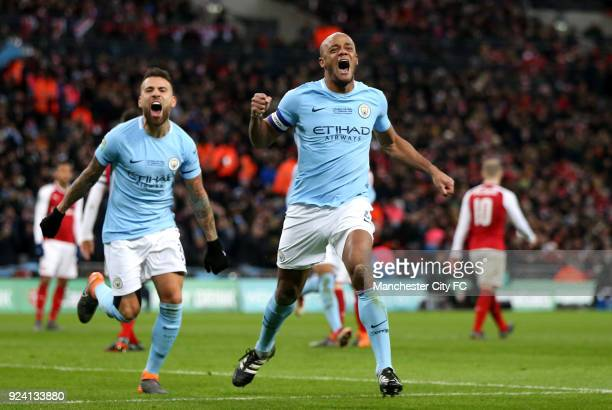 Vincent Kompany of Manchester City celebrates after scoring his sides second goal during the Carabao Cup Final between the Arsenal and Manchester...