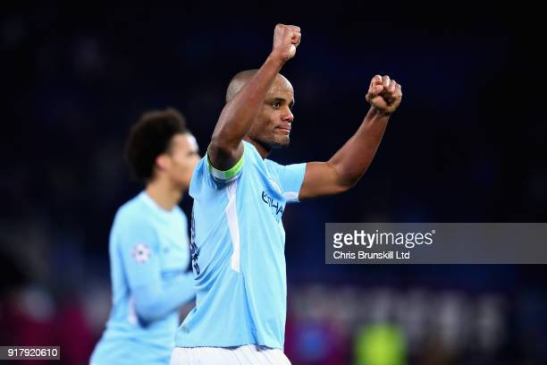 Vincent Kompany of Manchester City celebrates after the UEFA Champions League Round of 16 First Leg match between FC Basel and Manchester City at St...