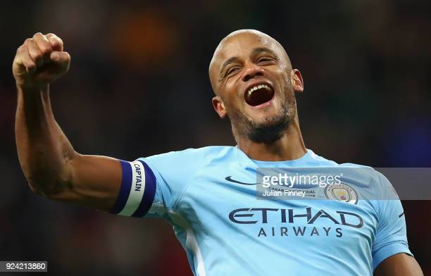 Vincent Kompany of Manchester City celebrates after winning the Carabao Cup Final between Arsenal and Manchester City at Wembley Stadium on February...