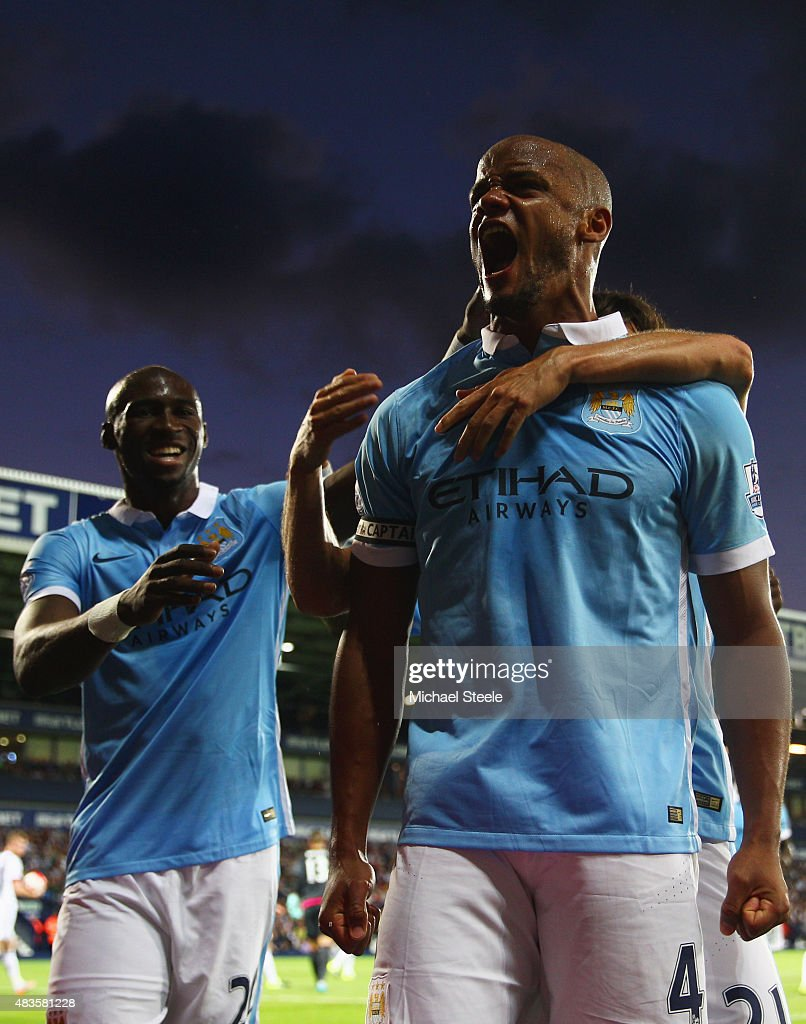 Vincent Kompany of Manchester City (4) celebrates as he scores their third goal during the Barclays Premier League match between West Bromwich Albion and Manchester City at The Hawthorns on August 10, 2015 in West Bromwich, England.