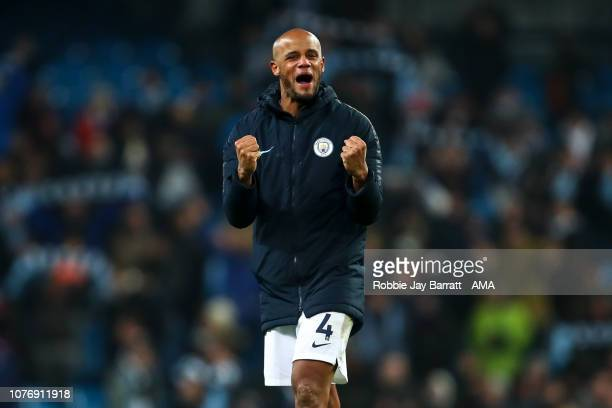910c966f11c Vincent Kompany of Manchester City celebrates at full time during the  Premier League match between Manchester